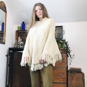 Vintage Cream Knit Fringe Poncho